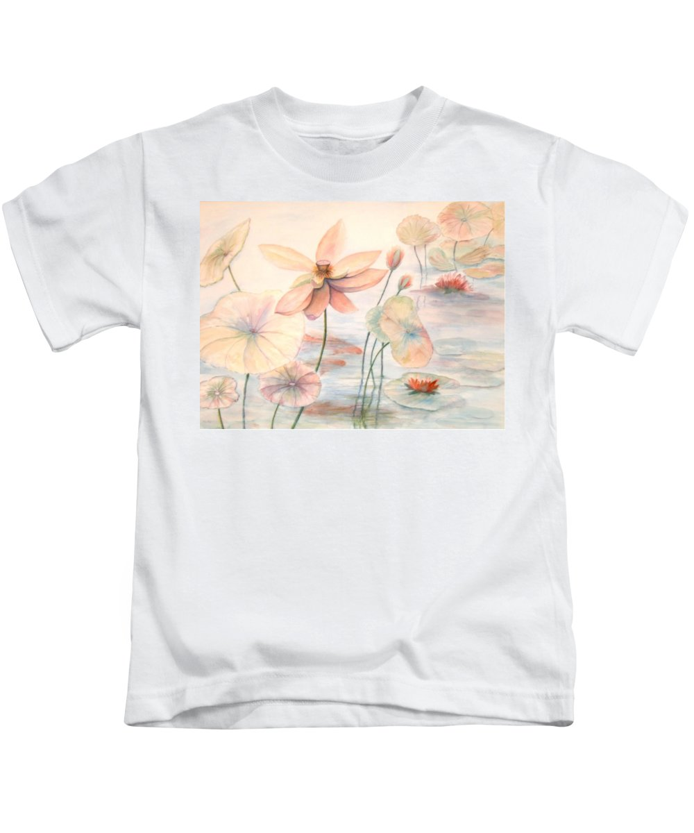 Lily Pads And Lotus Blossoms Kids T-Shirt featuring the painting Lily Pads by Ben Kiger