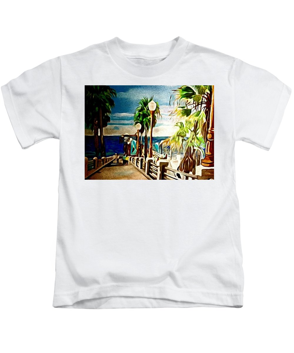 Landscape Kids T-Shirt featuring the painting Oceanside Peir by Andrew Johnson