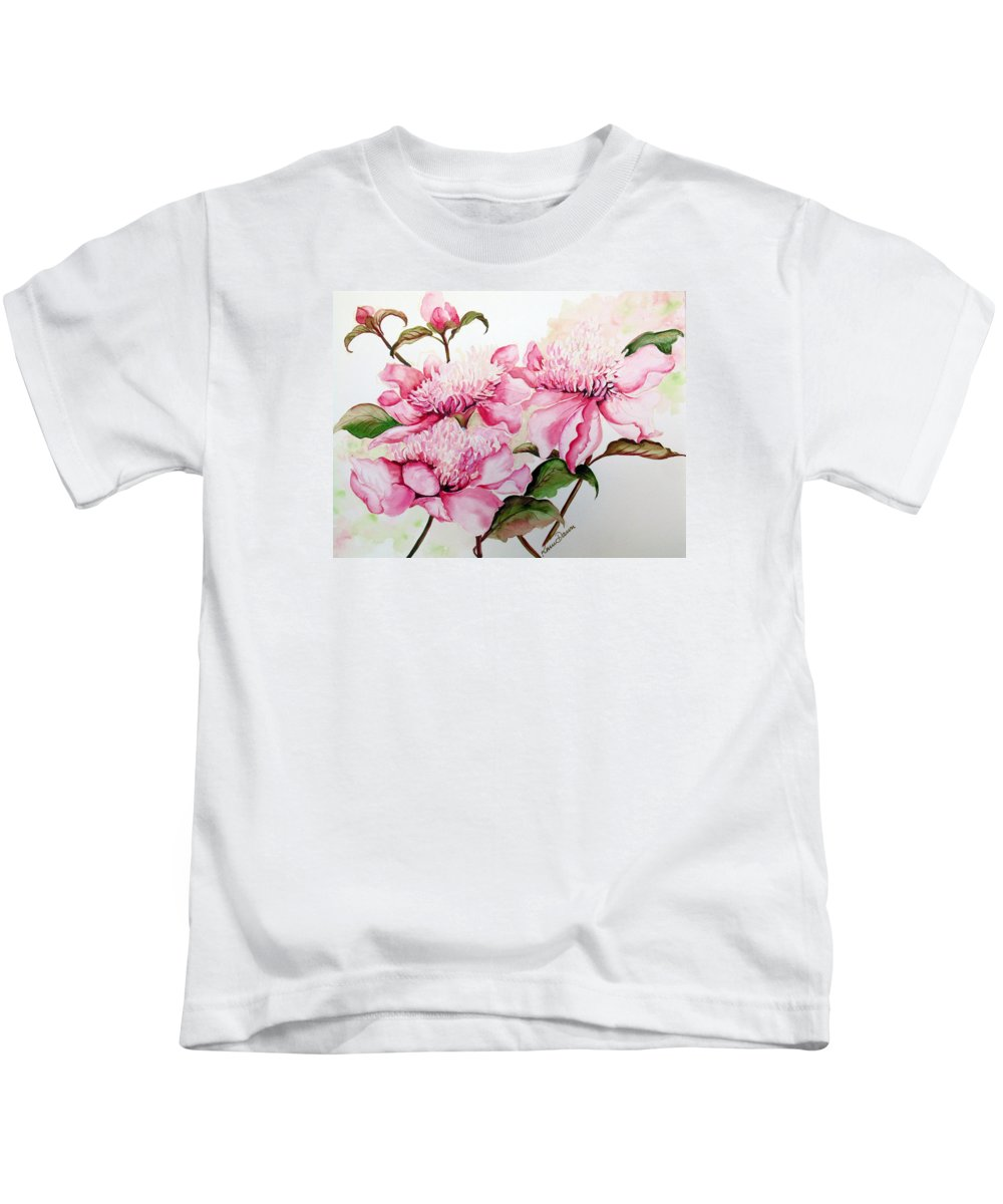 Flower Painting Flora Painting Pink Peonies Painting Botanical Painting Flower Painting Pink Painting Greeting Card Painting Pink Peonies Kids T-Shirt featuring the painting Peonies by Karin Dawn Kelshall- Best