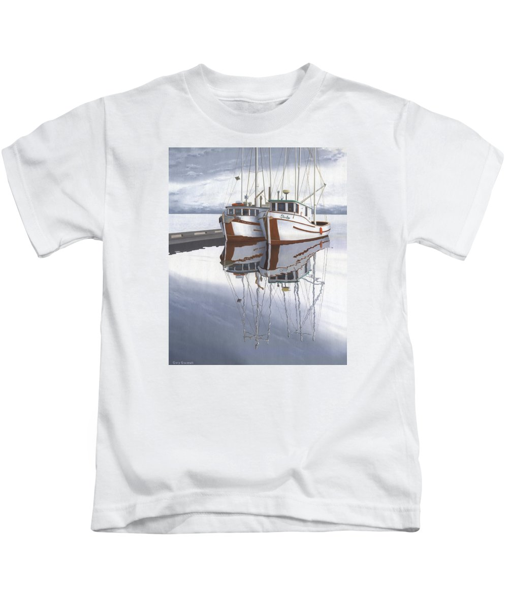 Fishing Boat Kids T-Shirt featuring the painting Powell River fishing boats by Gary Giacomelli