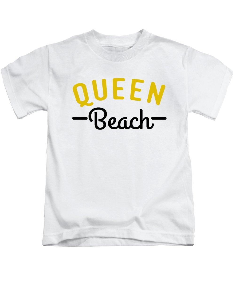 Beach Kids T-Shirt featuring the digital art Queen Beach Funny Summer Pun by Jacob Zelazny