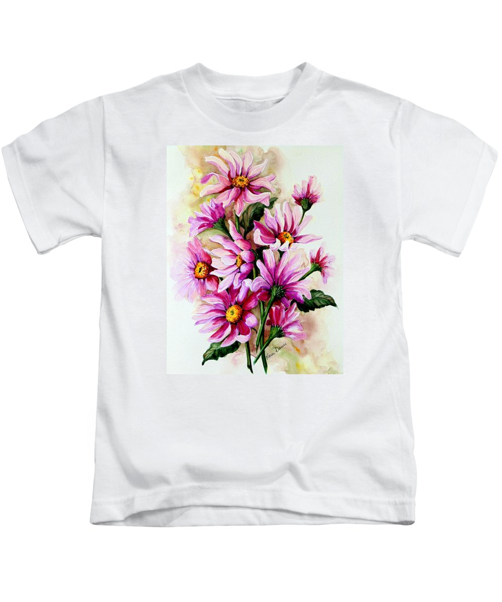 Pink Daisy Floral Painting Flower Painting Botanical Painting Bloom Painting Greeting Card Painting Kids T-Shirt featuring the painting So Pink by Karin Dawn Kelshall- Best