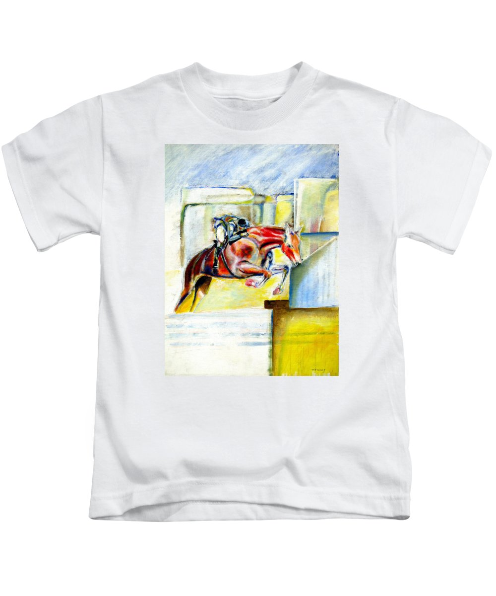 Horse Kids T-Shirt featuring the painting The Equestrian Horse and Rider by Tom Conway