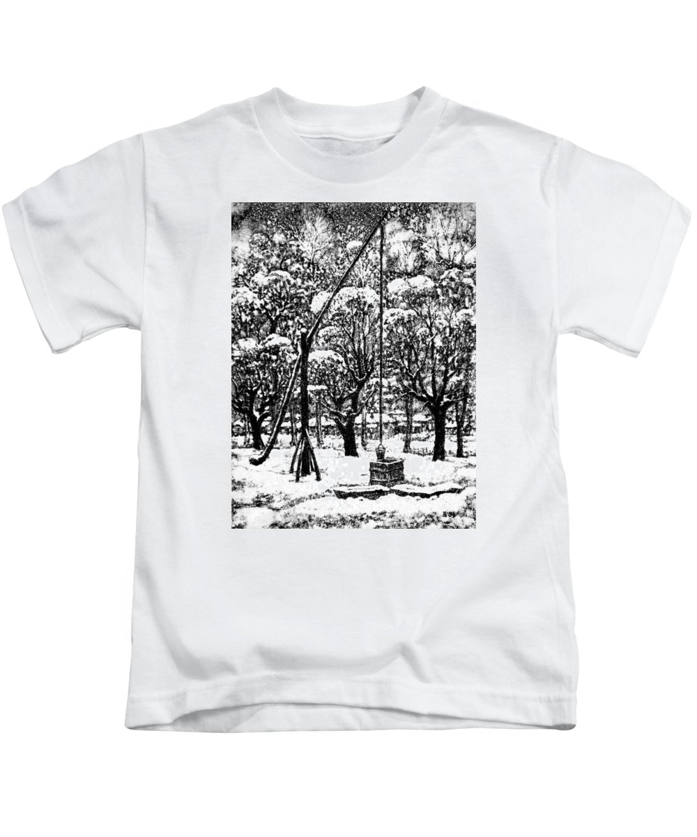Winter Kids T-Shirt featuring the drawing Winter Landscape by Iliyan Bozhanov