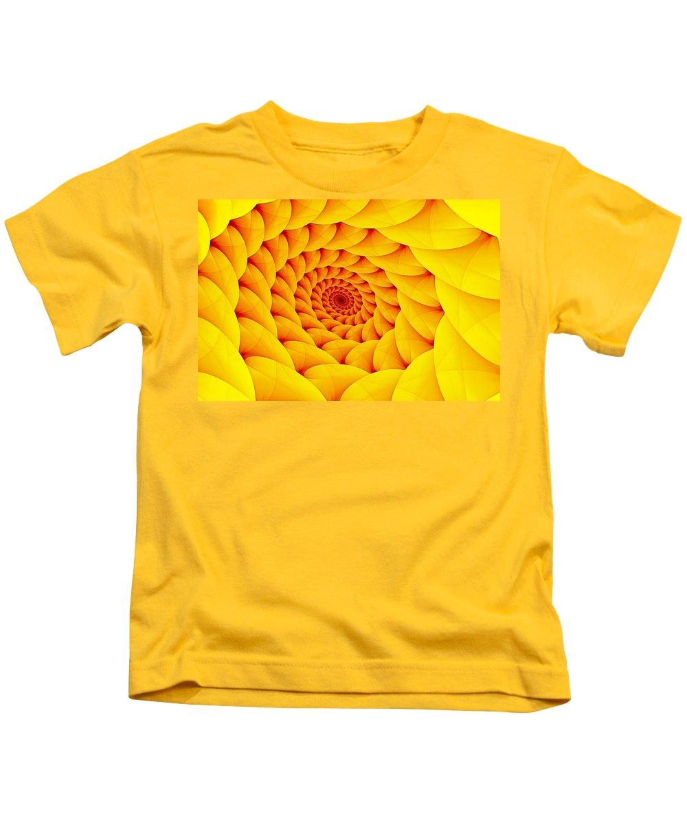 Fractal Spiral Kids T-Shirt featuring the digital art Yellow Pillow Vortex by Doug Morgan