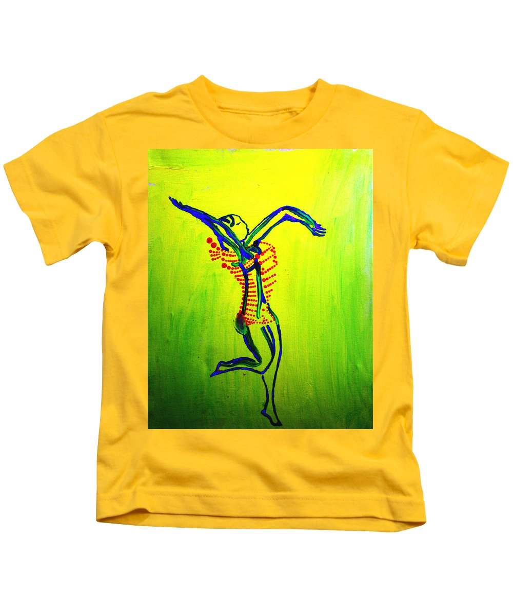 Jesus Kids T-Shirt featuring the painting Dinka Dance - South Sudan by Gloria Ssali