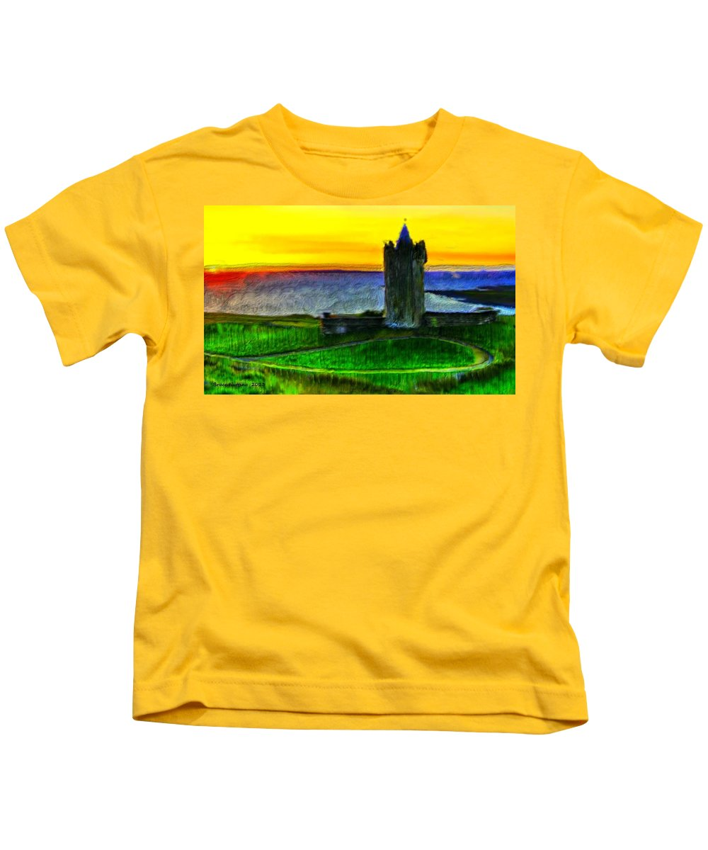 Doonagore Kids T-Shirt featuring the painting Doonagore Castle by Bruce Nutting