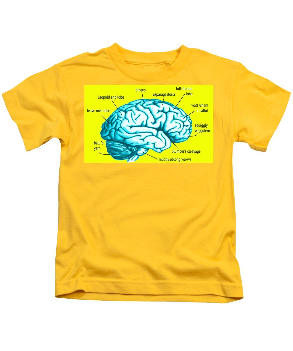 Gray Matter Kids T-Shirt featuring the digital art Learn About Your Brain by Del Gaizo