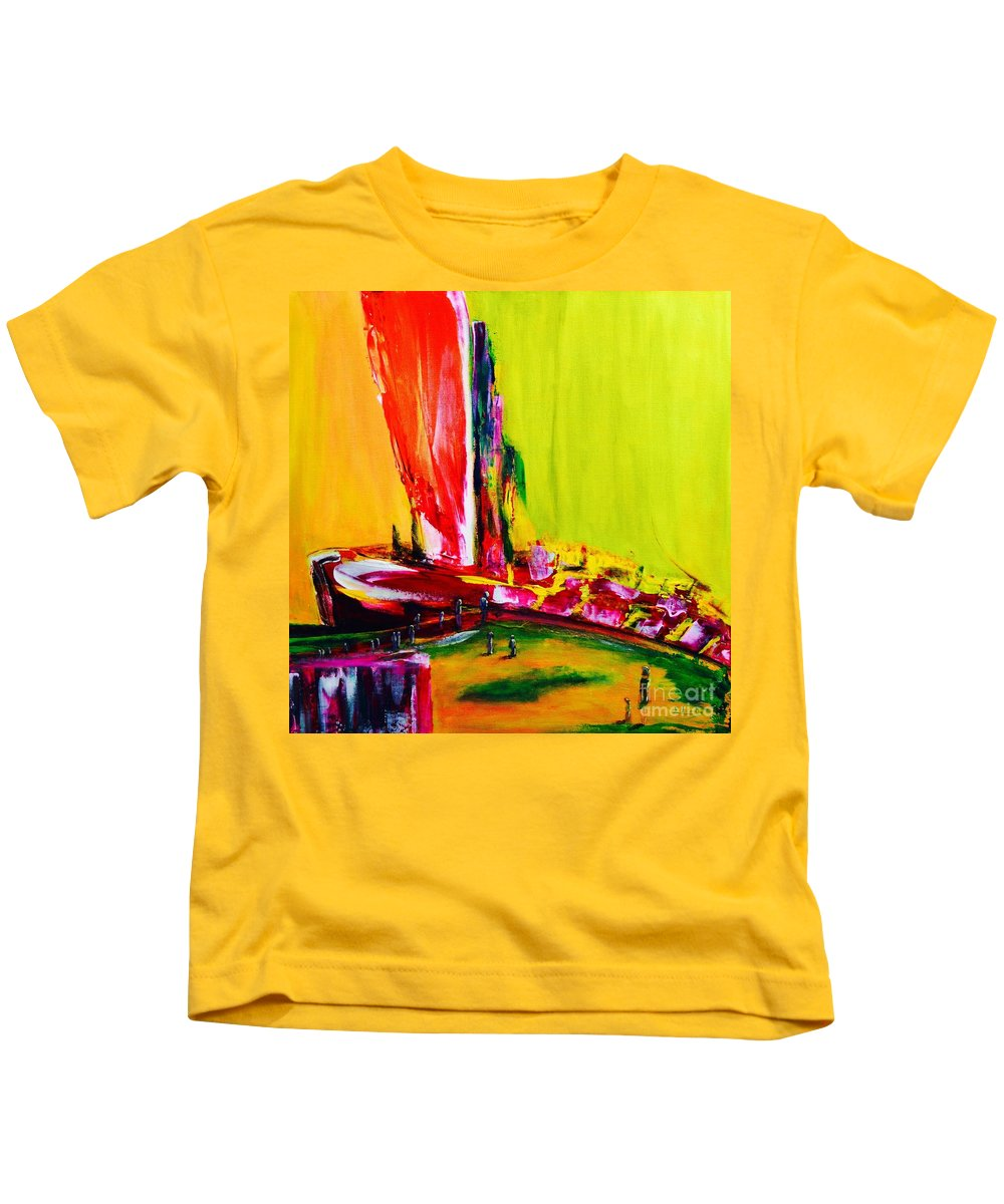 Original Kids T-Shirt featuring the painting All Aboard by ElsaDe Paintings