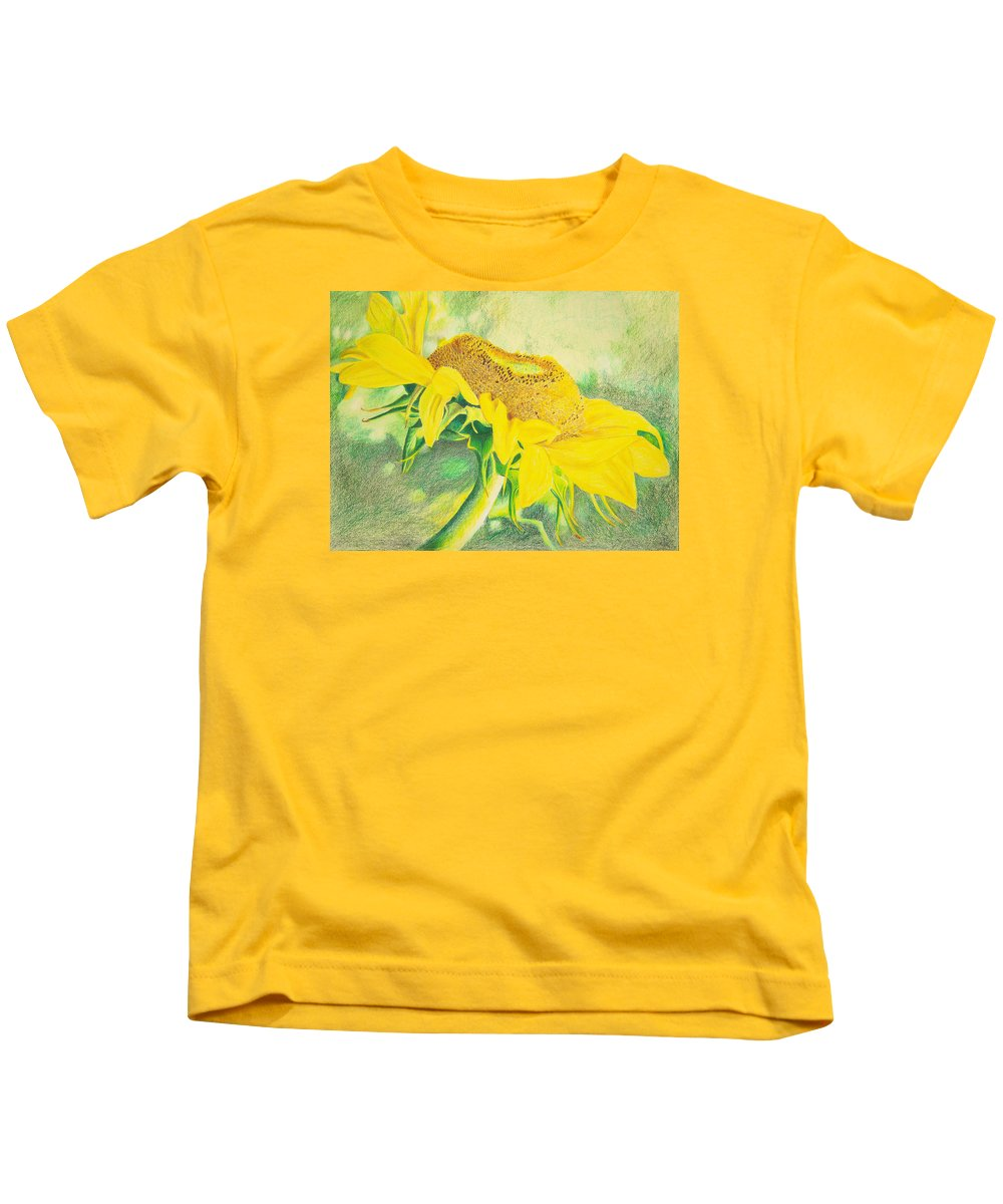 Sunflower Art Print Kids T-Shirt featuring the mixed media Sunflower Print Art For Sale Colored Pencil Floral by Diane Jorstad