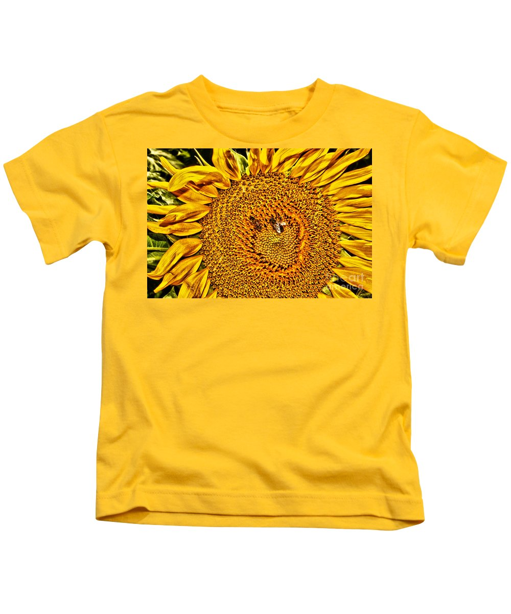 Flower Kids T-Shirt featuring the photograph Bees On Sunflower Hdr by Robert Frederick