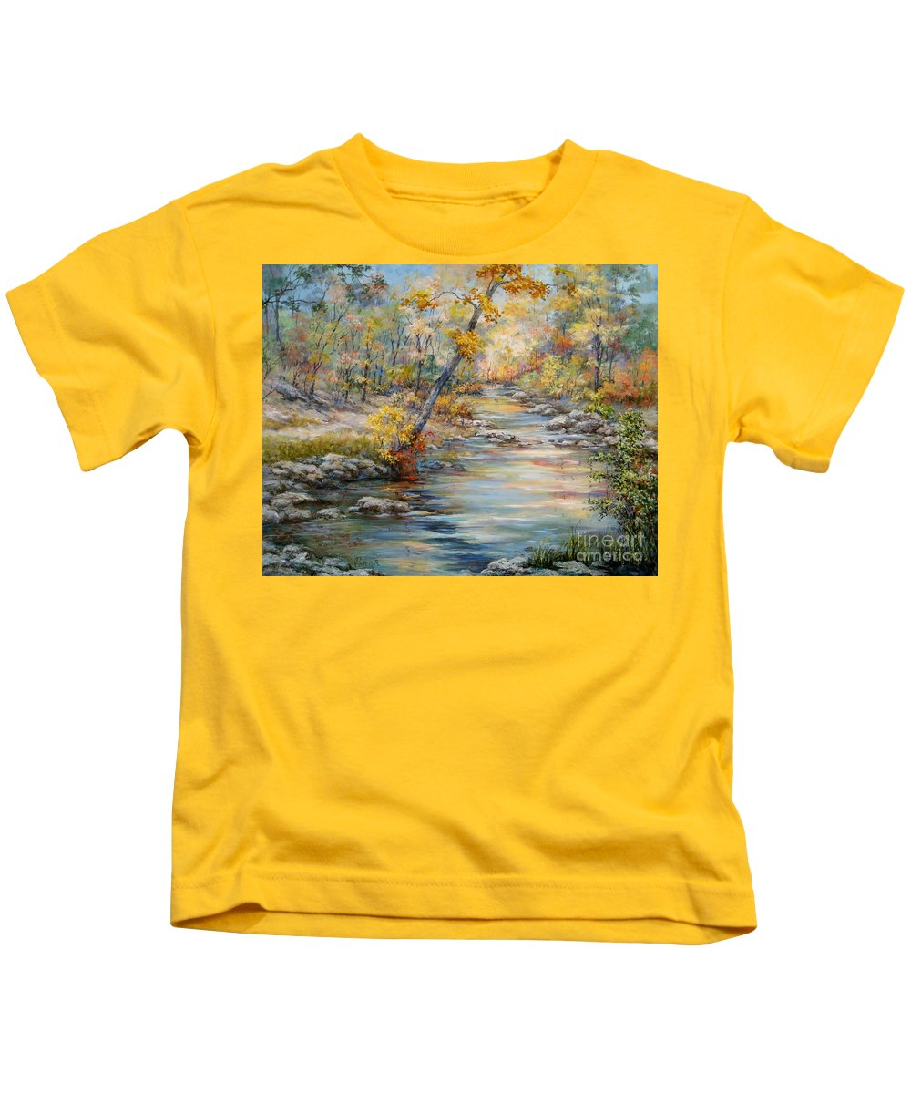Landscape Kids T-Shirt featuring the painting Cedar Creek Trail by Virginia Potter