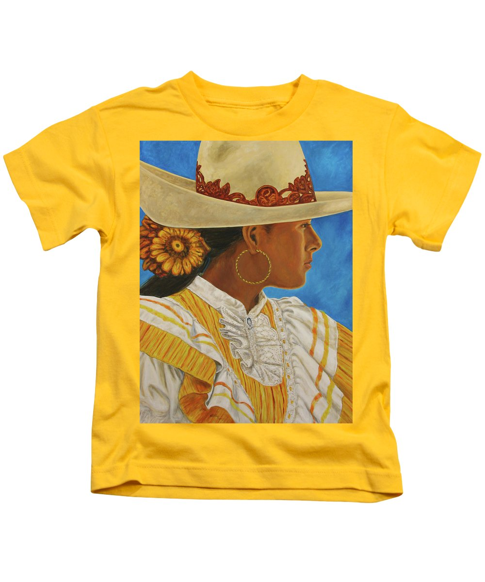 Mexican Rodeo Kids T-Shirt featuring the painting Charra Bonita by Pat Haley