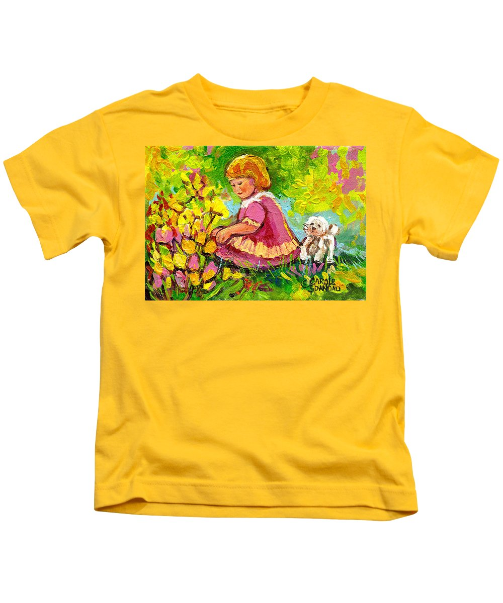 Children Kids T-Shirt featuring the painting Children's Art - Little Girl With Puppy - Paintings For Children by Carole Spandau