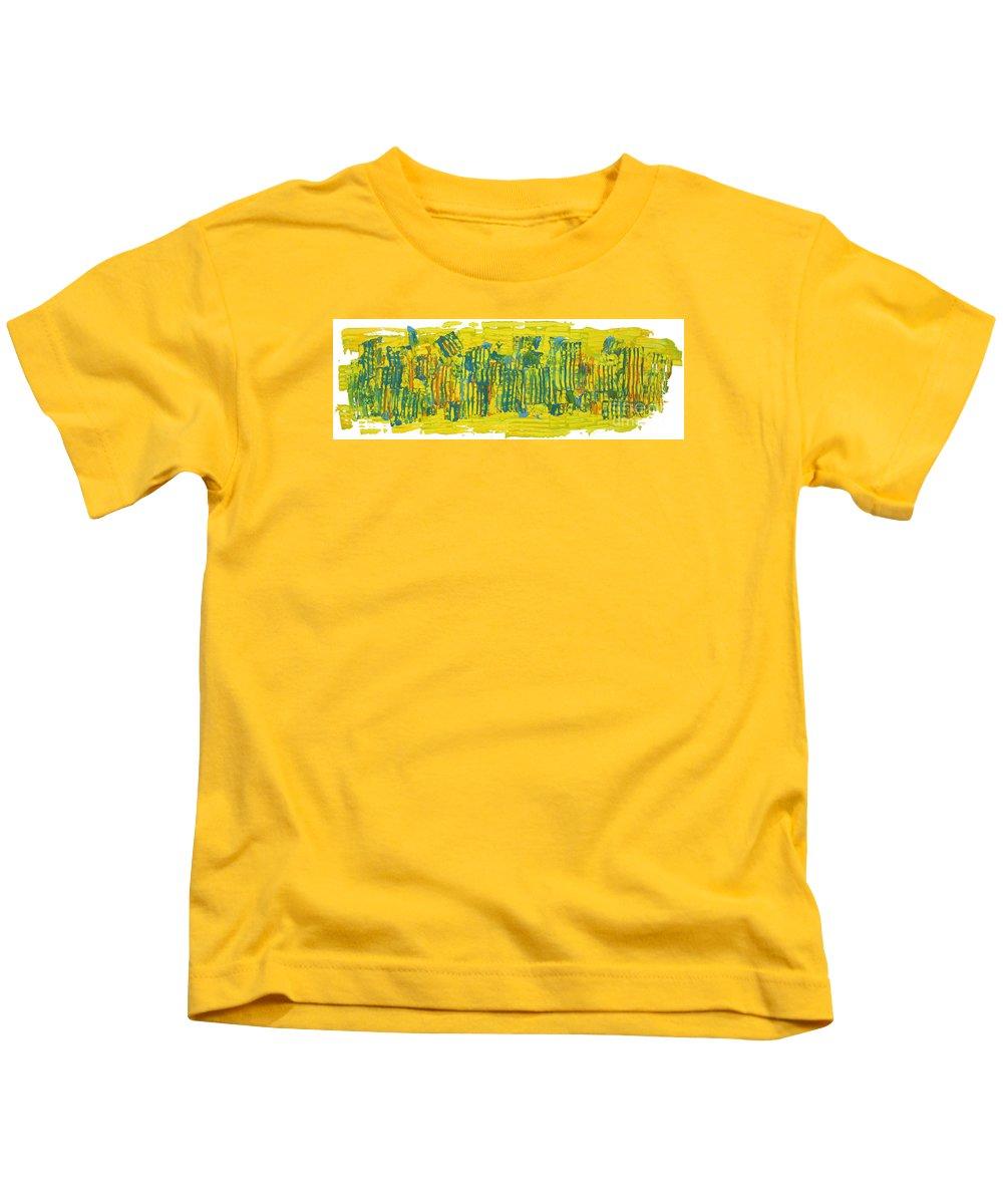City Life Kids T-Shirt featuring the painting City Life by Bjorn Sjogren