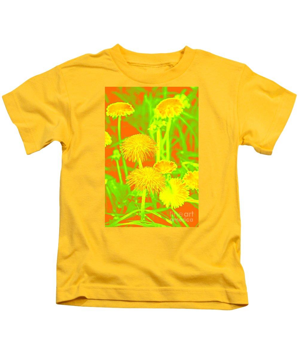 Dandelion Kids T-Shirt featuring the photograph Dandelions by Lali Kacharava