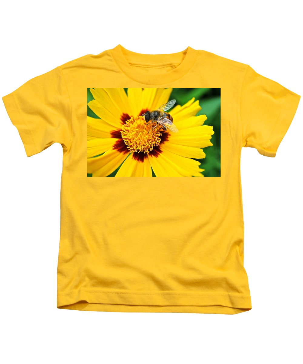 Queen Kids T-Shirt featuring the photograph Drone Bee by Frozen in Time Fine Art Photography
