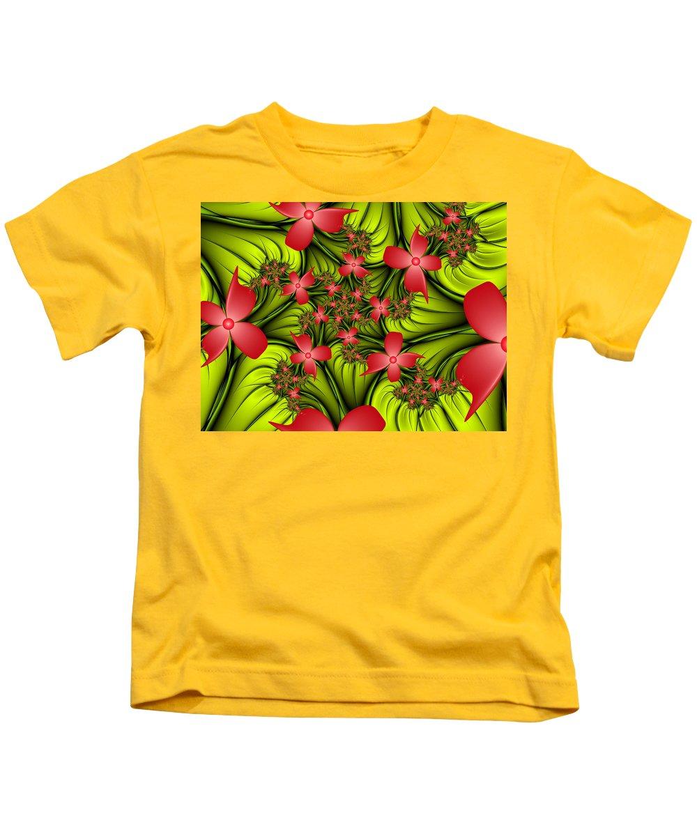 Digital Art Kids T-Shirt featuring the digital art In A Flower Meadow by Gabiw Art