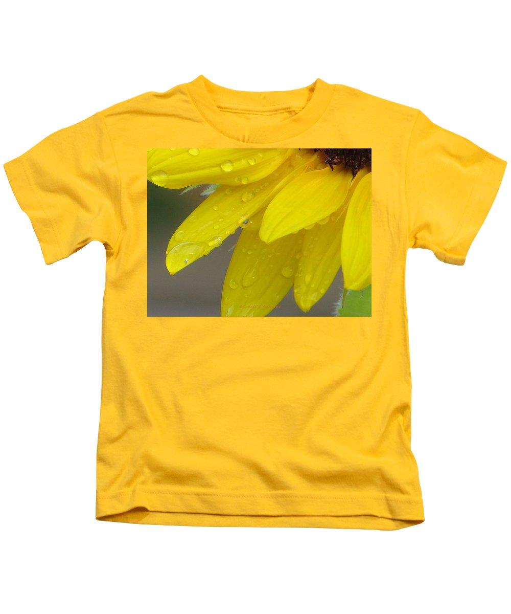 Golden Dew Kids T-Shirt featuring the photograph Jaune Petals by Sonali Gangane