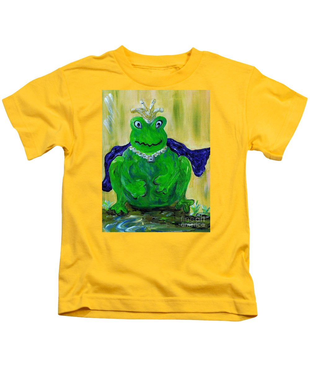 Frog Kids T-Shirt featuring the painting King For A Day by Eloise Schneider Mote
