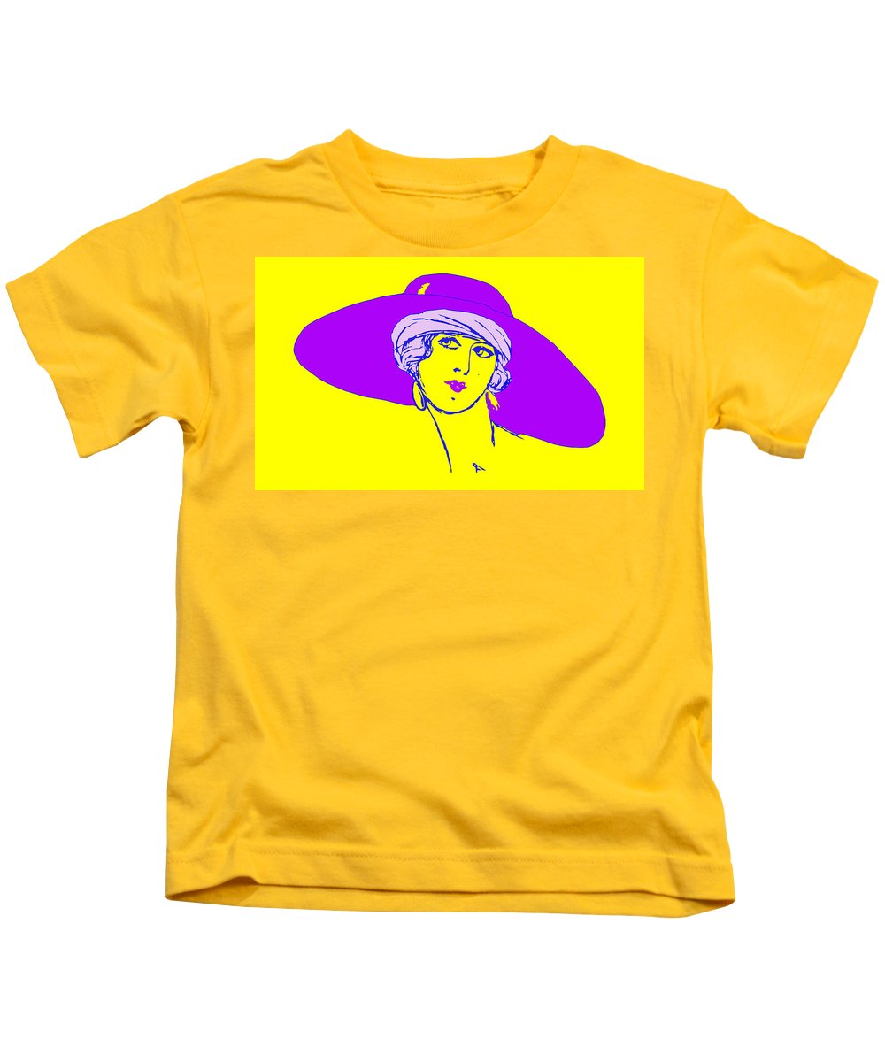 Sketch Kids T-Shirt featuring the photograph Lady With Hat 1c by Mauro Celotti
