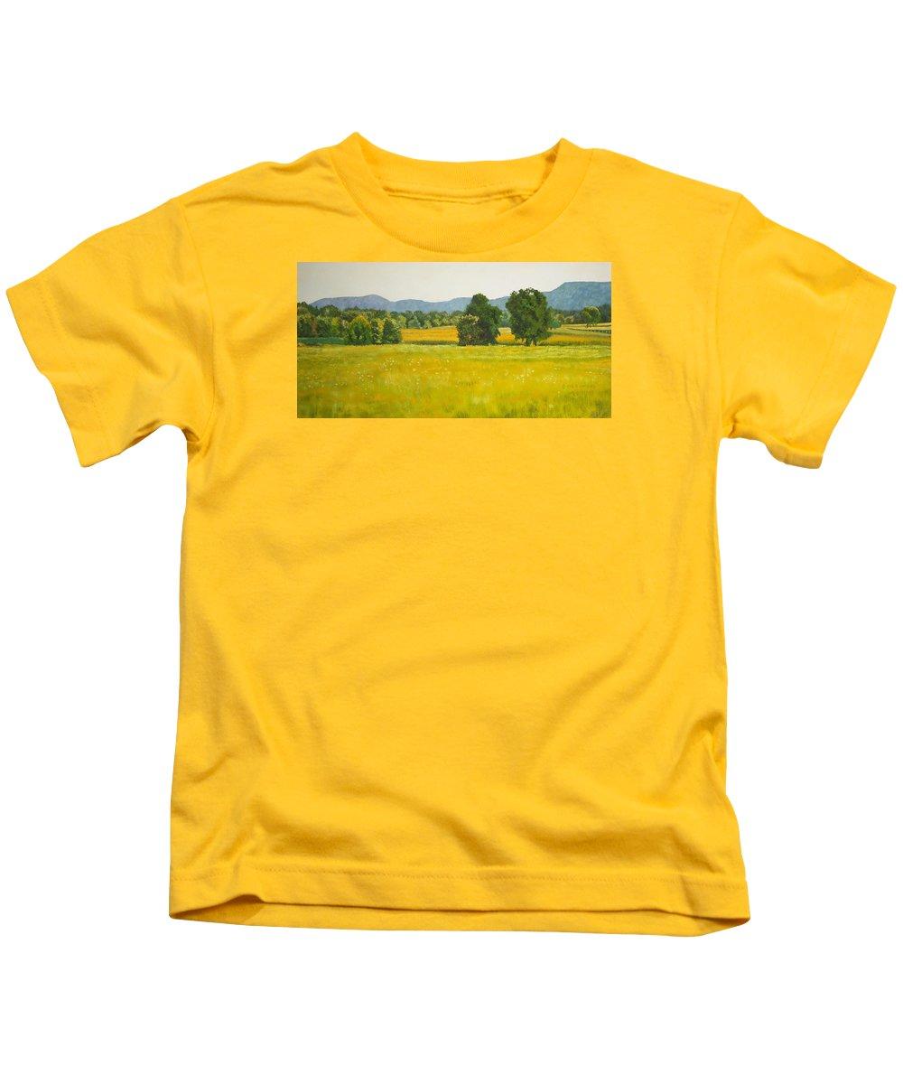 Landscape Prints Kids T-Shirt featuring the painting landscape art print oil painting for sale Fields by Diane Jorstad