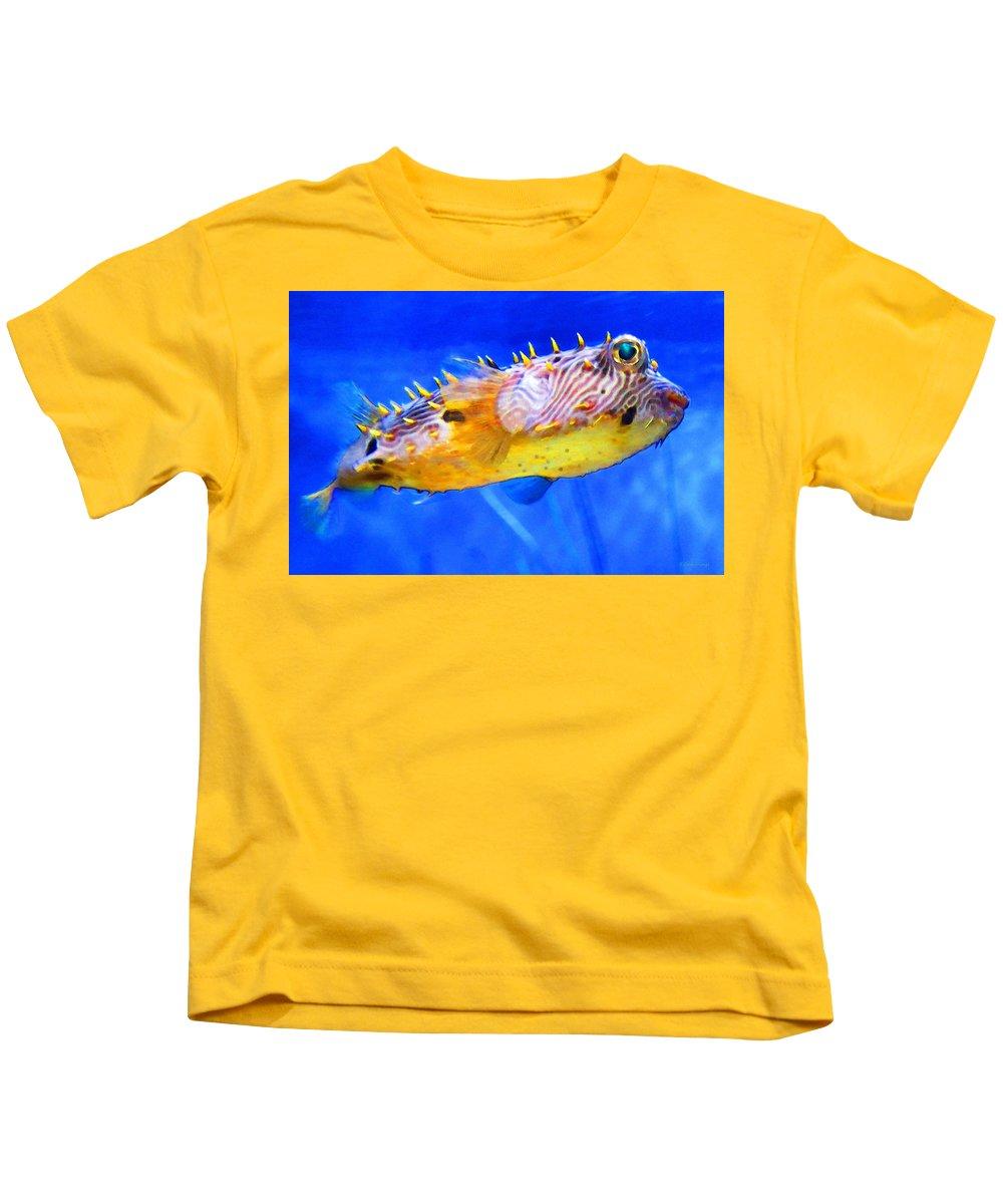 Fish Kids T-Shirt featuring the painting Magic Puffer - Fish Art By Sharon Cummings by Sharon Cummings