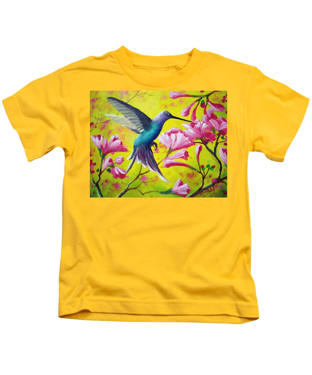 Hummingbird Kids T-Shirt featuring the painting Morning Sweets by David G Paul