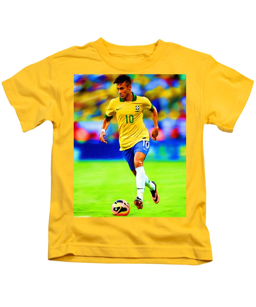 Neymar Kids T-Shirt featuring the painting Neymar Soccer Football Art Portrait Painting by Andres Ramos