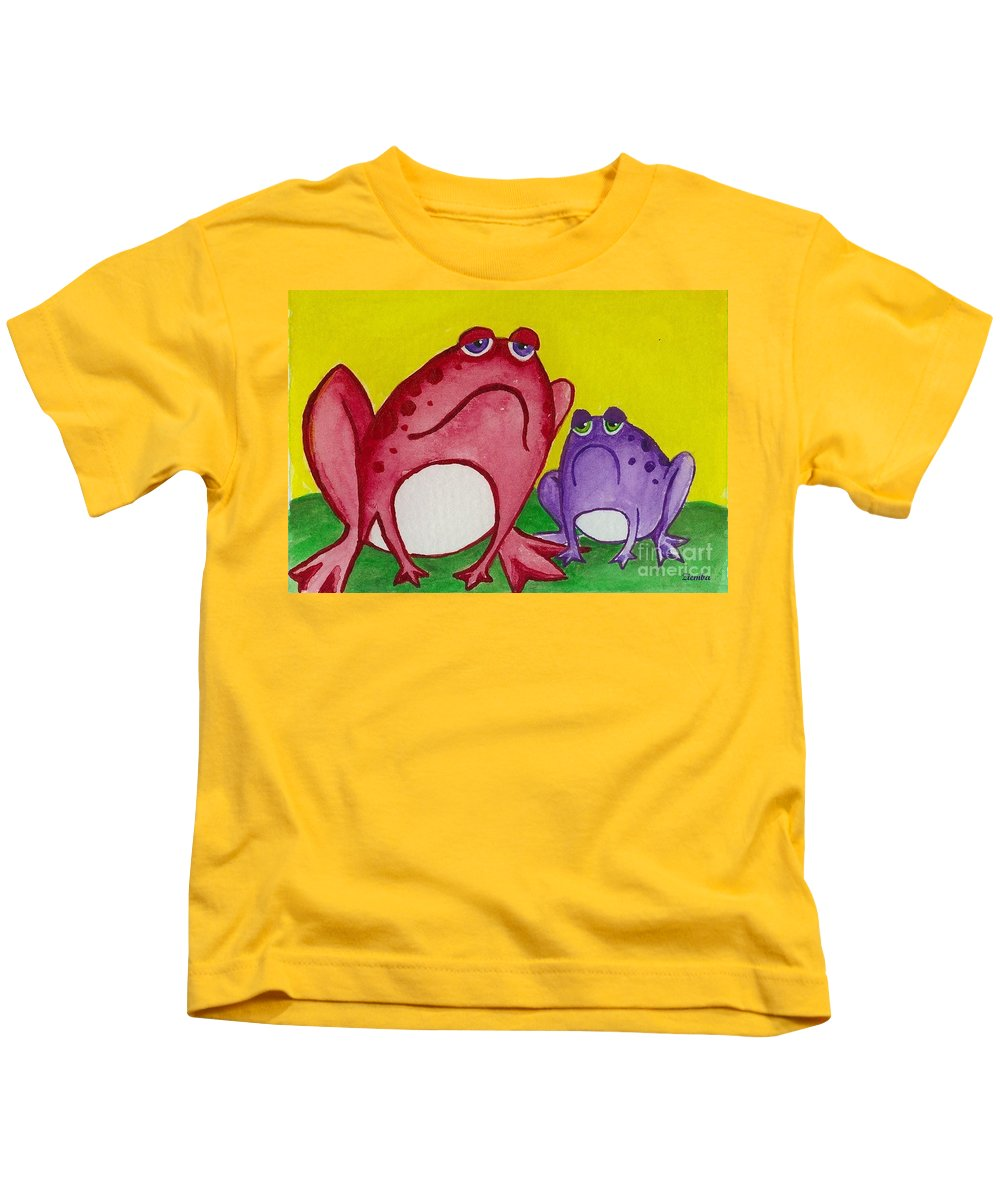 Frog Kids T-Shirt featuring the painting Red Frog by Lori Ziemba