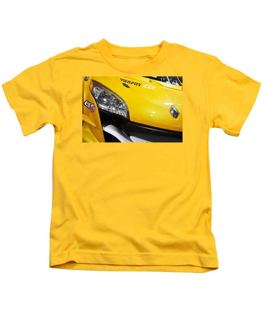 Yellow Kids T-Shirt featuring the photograph Renault Megane Trophy V6 by RicardMN Photography