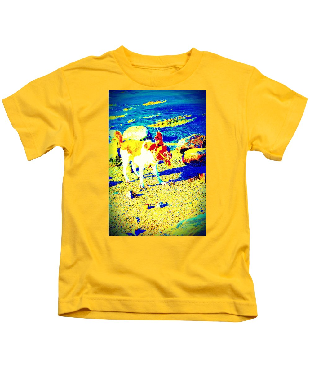 Dog Kids T-Shirt featuring the photograph You Can Shake It Baby, So Shake Your Head And Laugh Out Loud by Hilde Widerberg