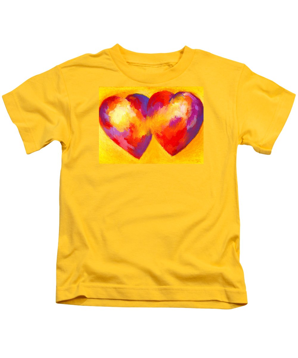 Hearts Kids T-Shirt featuring the painting Two Hearts Beat As One by Stephen Anderson