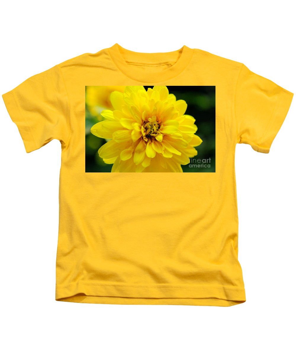 Yellow Marigold Kids T-Shirt featuring the photograph West Virginia Marigold by Melissa Petrey