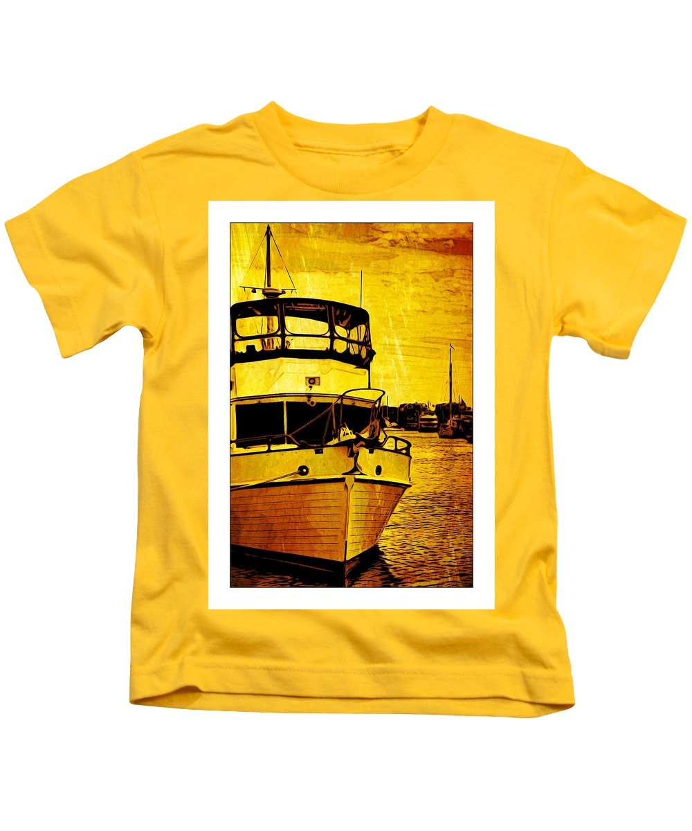 Boat Kids T-Shirt featuring the photograph Yellow On The Water by Alice Gipson
