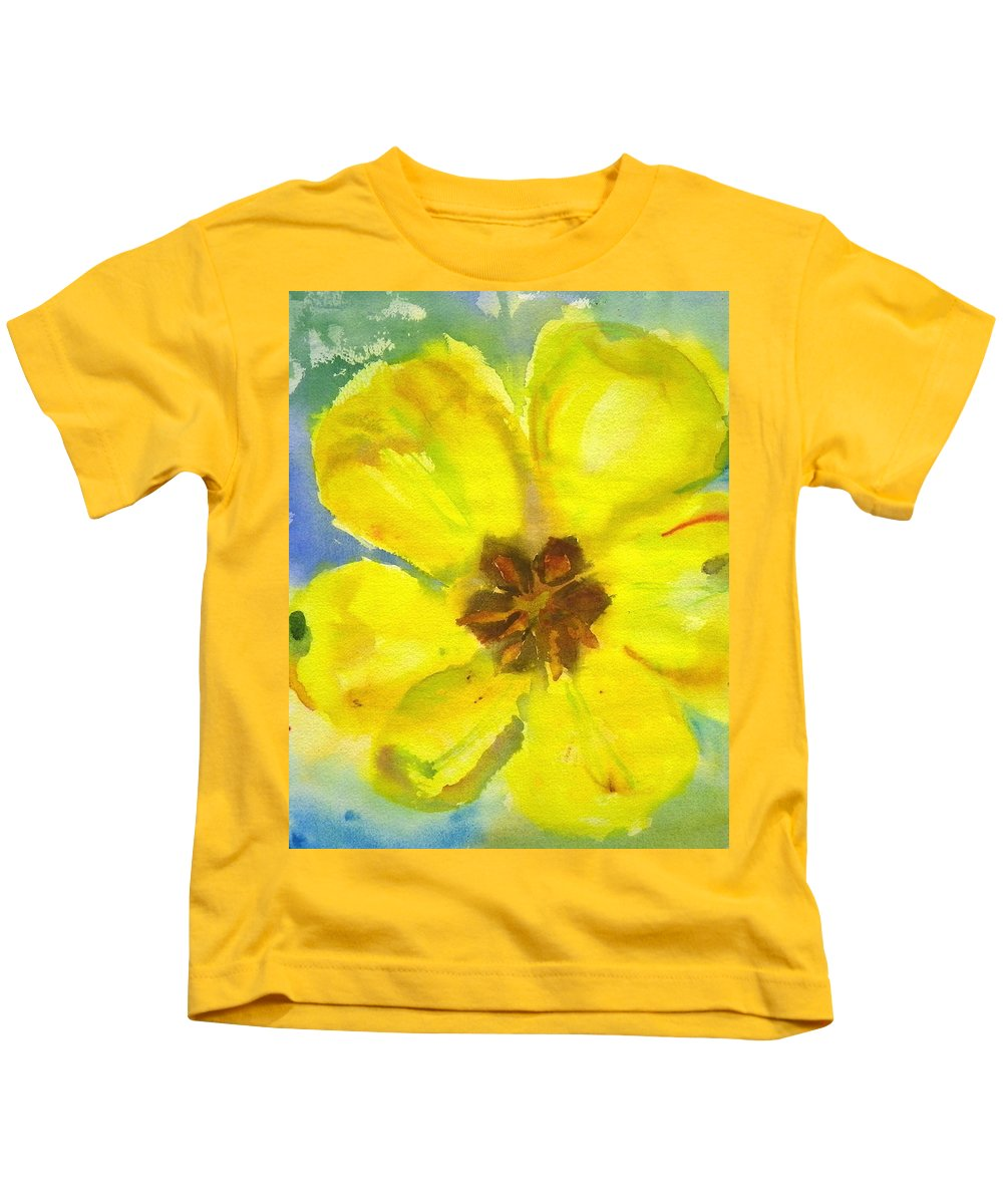 Tulip Kids T-Shirt featuring the painting Yellow Tulip by Anna Ruzsan