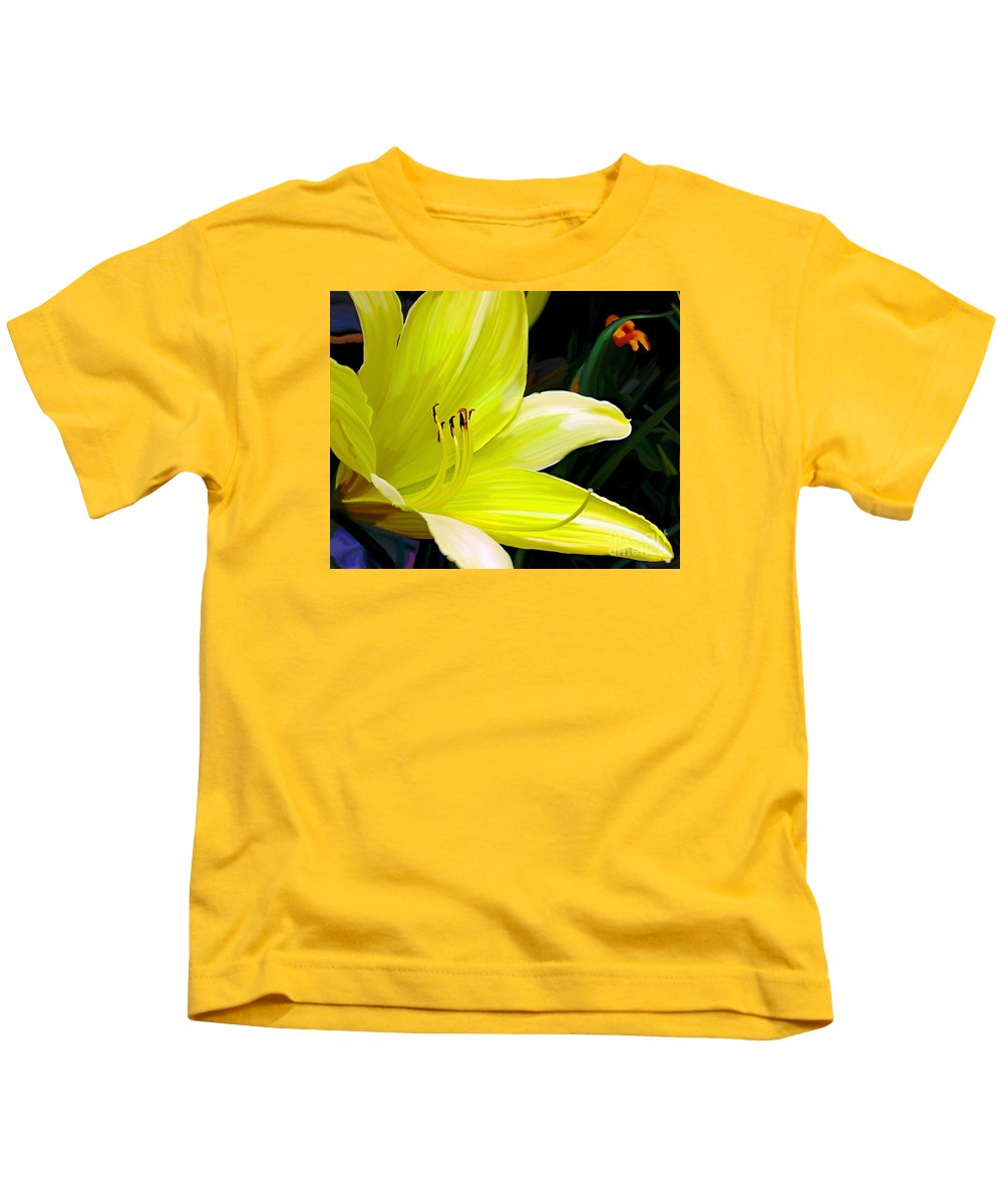 Flower Painting Kids T-Shirt featuring the painting Pure Sunshine by Patricia Griffin Brett