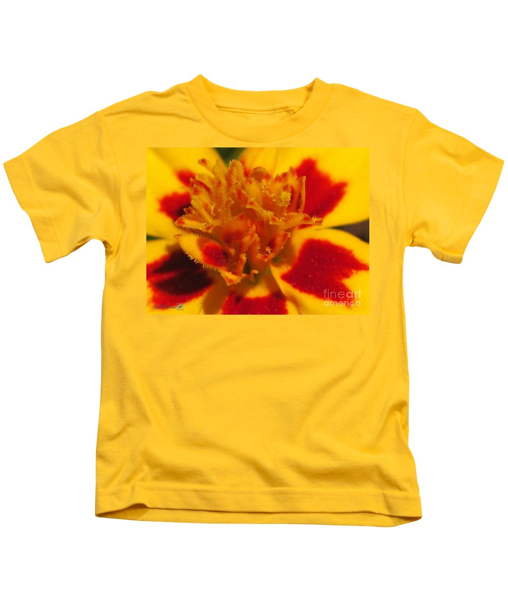 French Marigold Kids T-Shirt featuring the photograph French Marigold Named Starfire by J McCombie