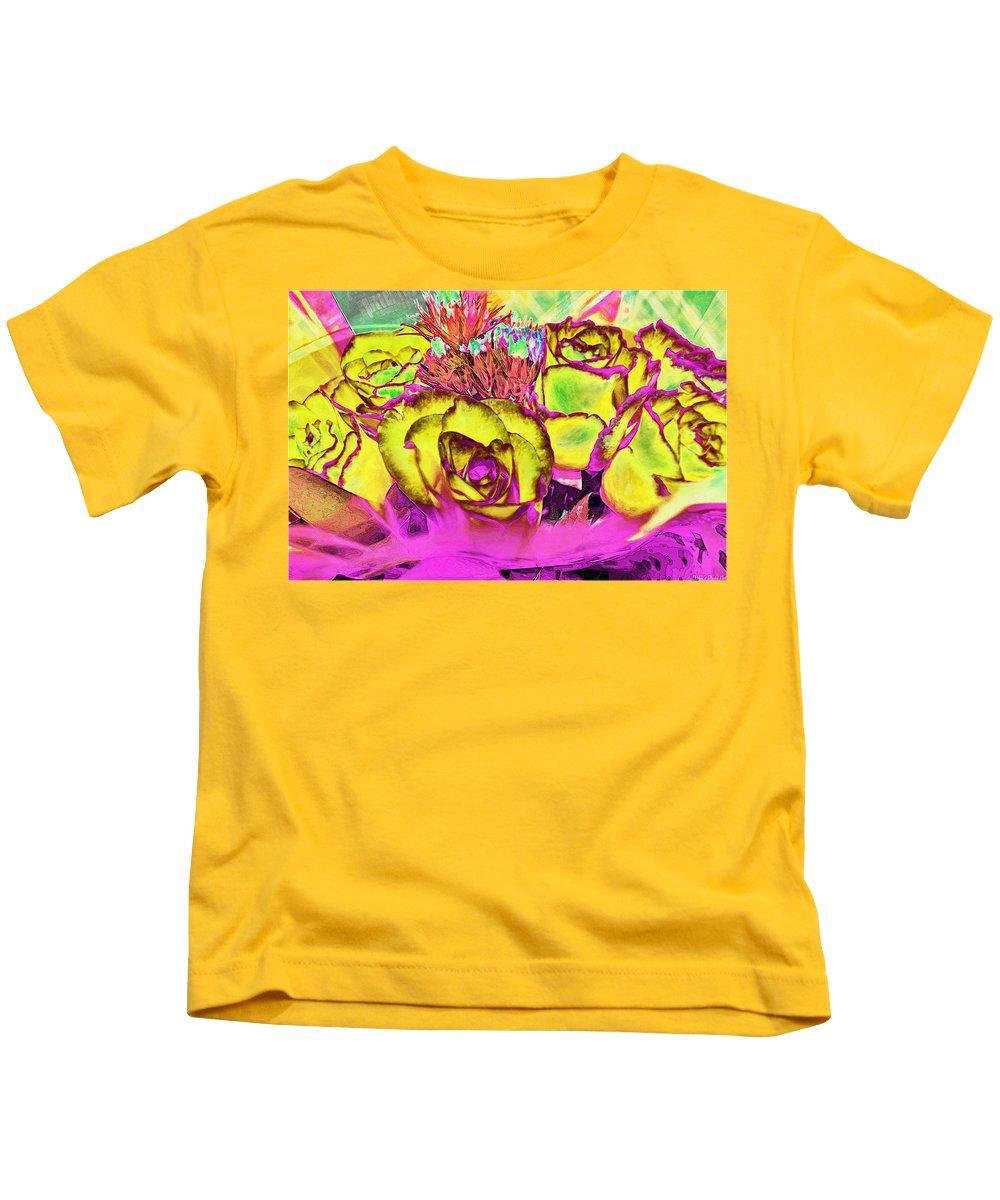 Botanical Kids T-Shirt featuring the digital art Rose Boquet Art by Debbie Portwood