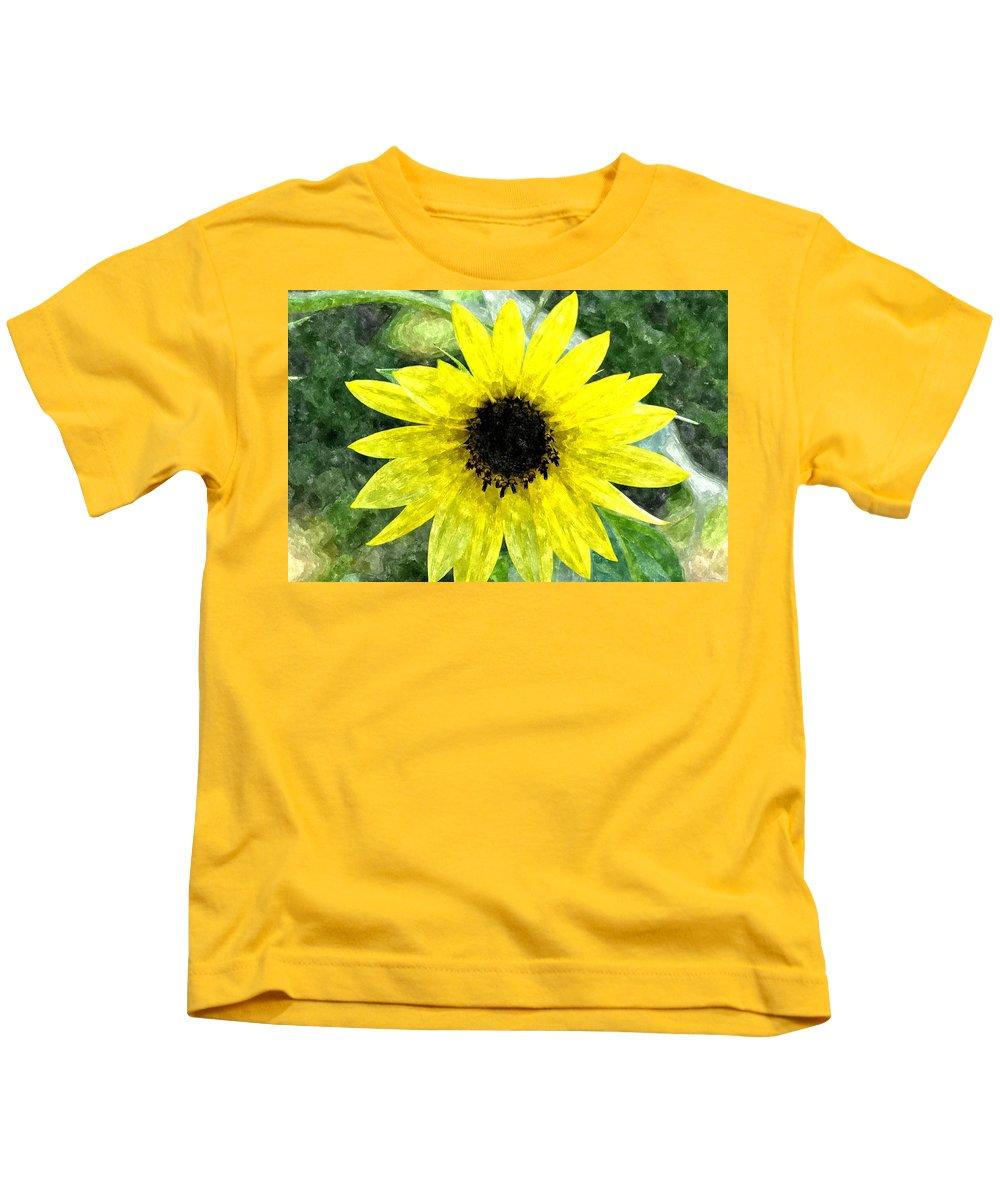 Sunflower Kids T-Shirt featuring the digital art Sunflower 5 Sf5wc by Jim Brage