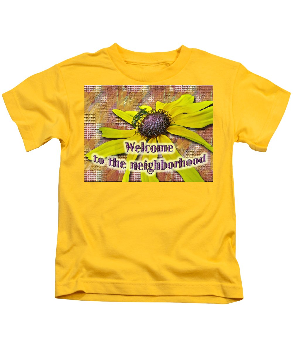 Neighbor Kids T-Shirt featuring the photograph Welcome New Neighbor Card - Bee And Black-eyed Susan by Mother Nature