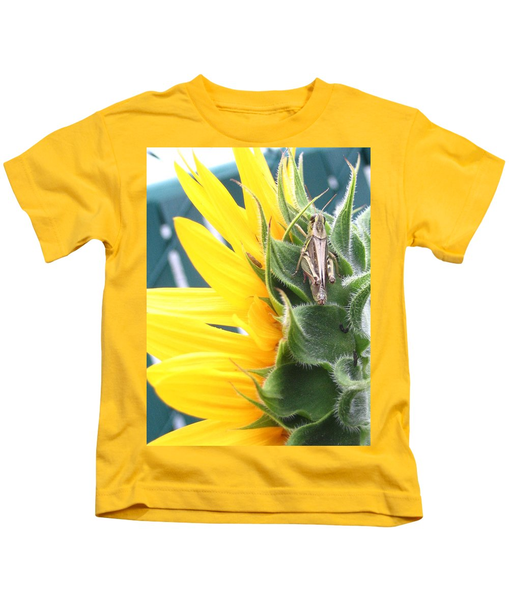 Sunflower Kids T-Shirt featuring the photograph ... Small Break by Line Gagne