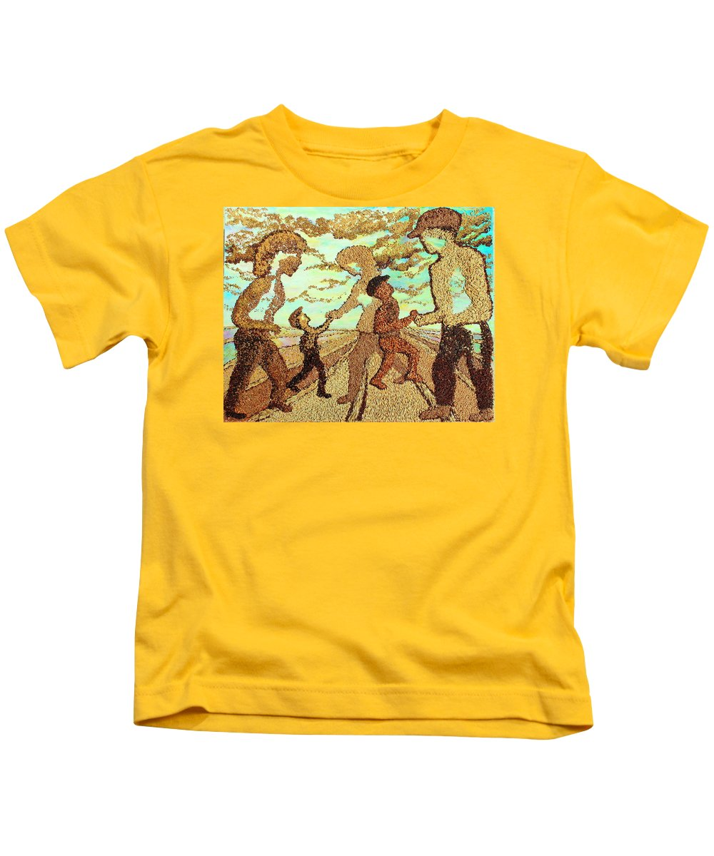Agricultural Kids T-Shirt featuring the painting Farm Family by Naomi Gerrard
