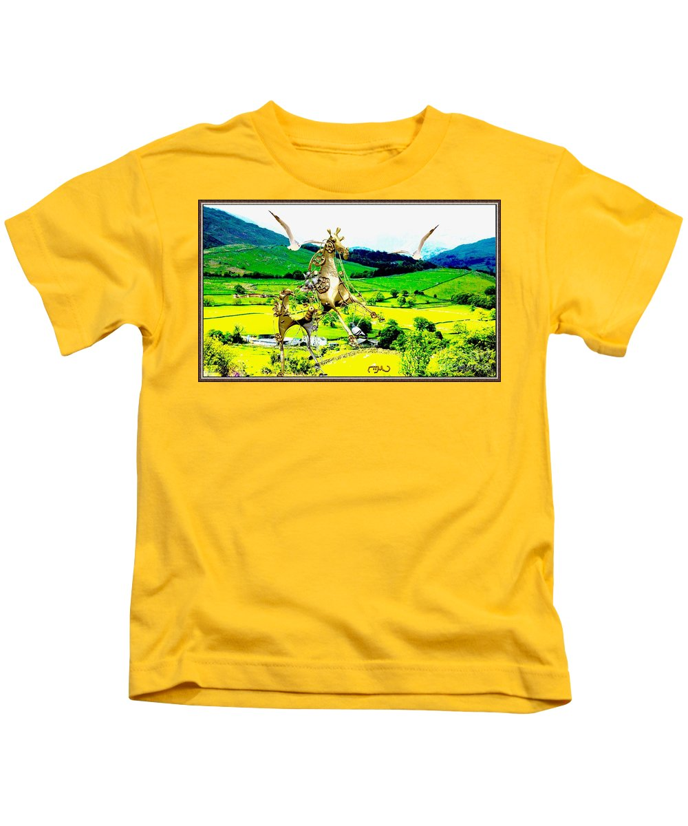 Modern Painting Kids T-Shirt featuring the mixed media Flight Lovers by Pemaro