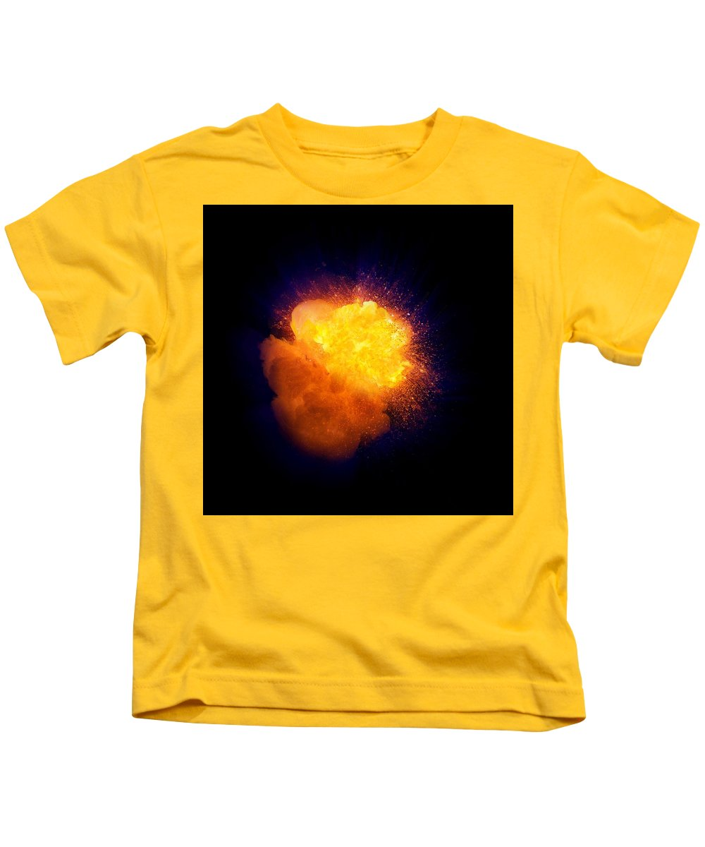 Fuel Kids T-Shirt featuring the photograph Realistic Fire Explosion, Orange Color With Smoke And Sparks by Lukasz Szczepanski