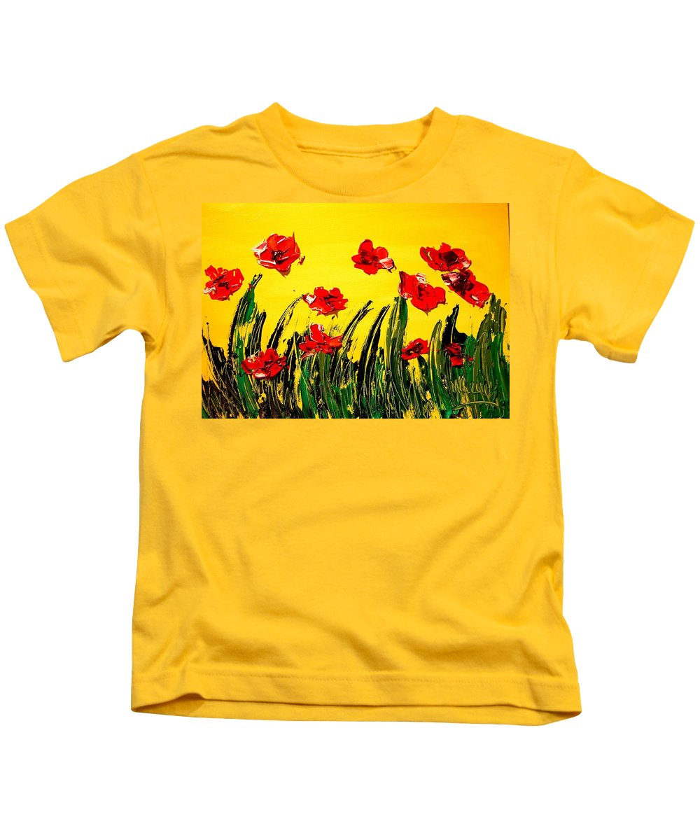 Red Poppies Kids T-Shirt featuring the painting Red Poppies by Mark Kazav