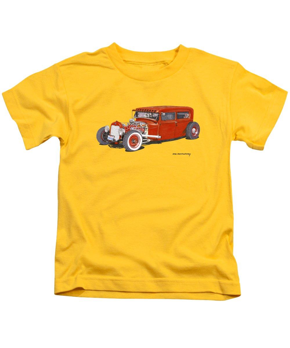 Jalopy Art Kids T-Shirt featuring the painting 1928 Ford Tudor Jalopy Ratrod by Jack Pumphrey