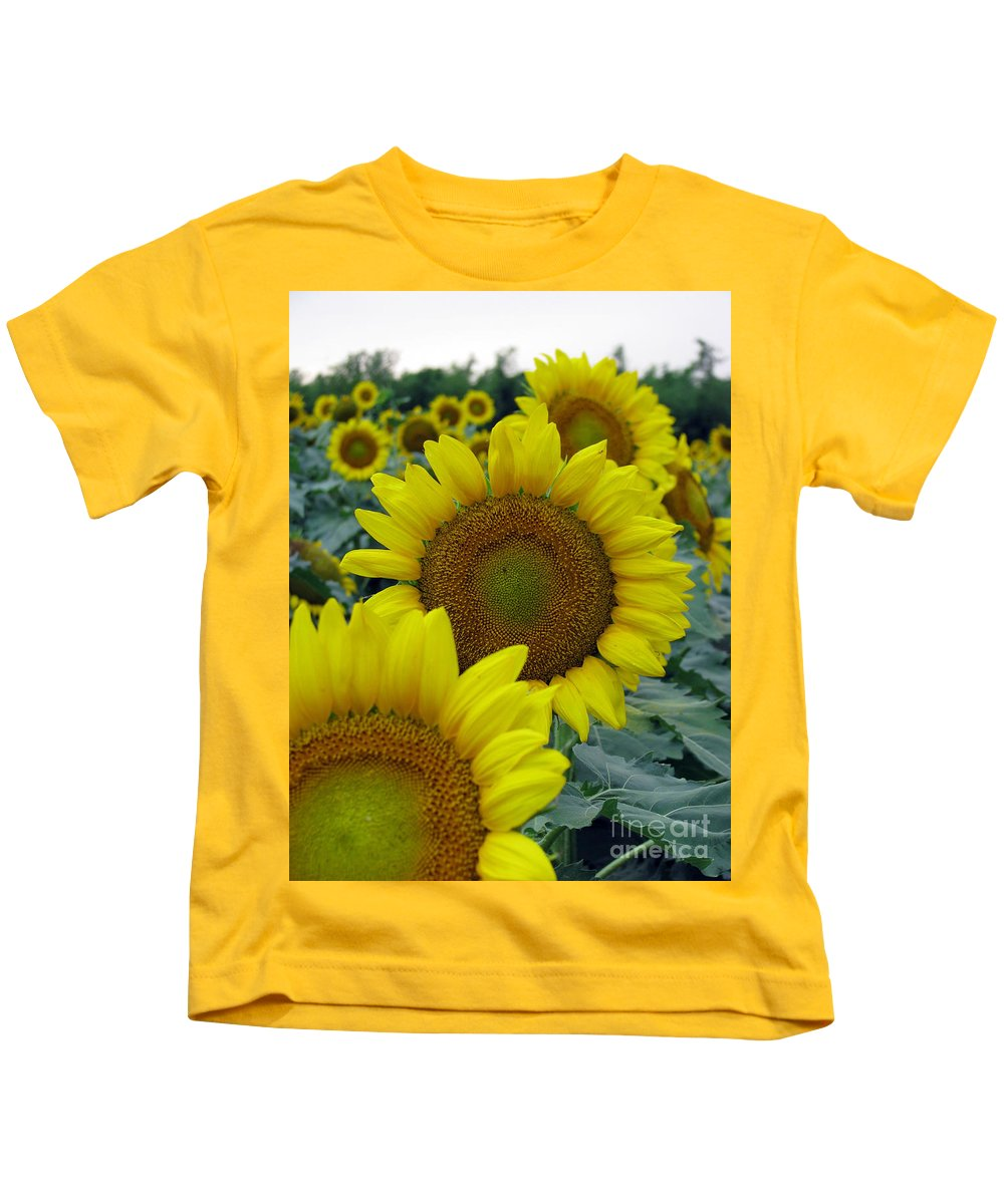 Sunflowers Kids T-Shirt featuring the photograph Sunflower Series by Amanda Barcon