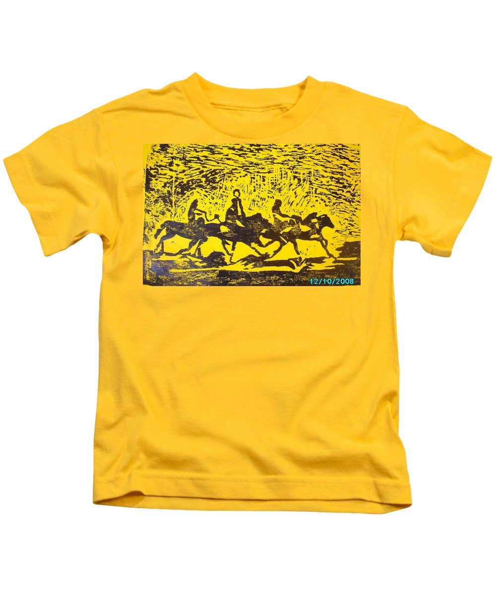 Arrival Kids T-Shirt featuring the mixed media Arrival by Olaoluwa Smith