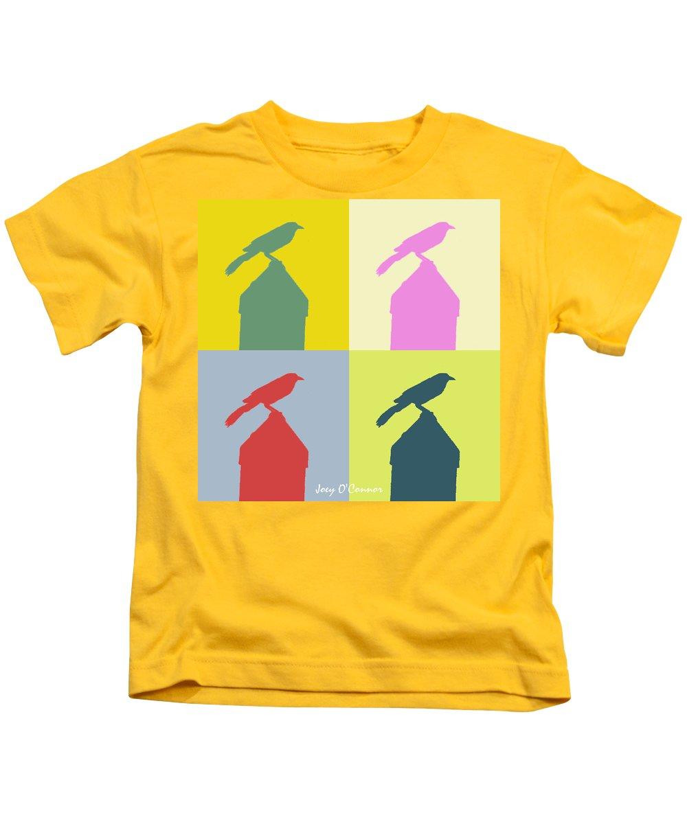 Birds Kids T-Shirt featuring the digital art Bird At The Top - Abstract Art by Joey OConnor